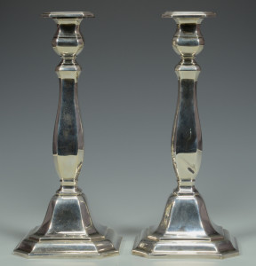 Lot 838: German .925 Silver Candlesticks