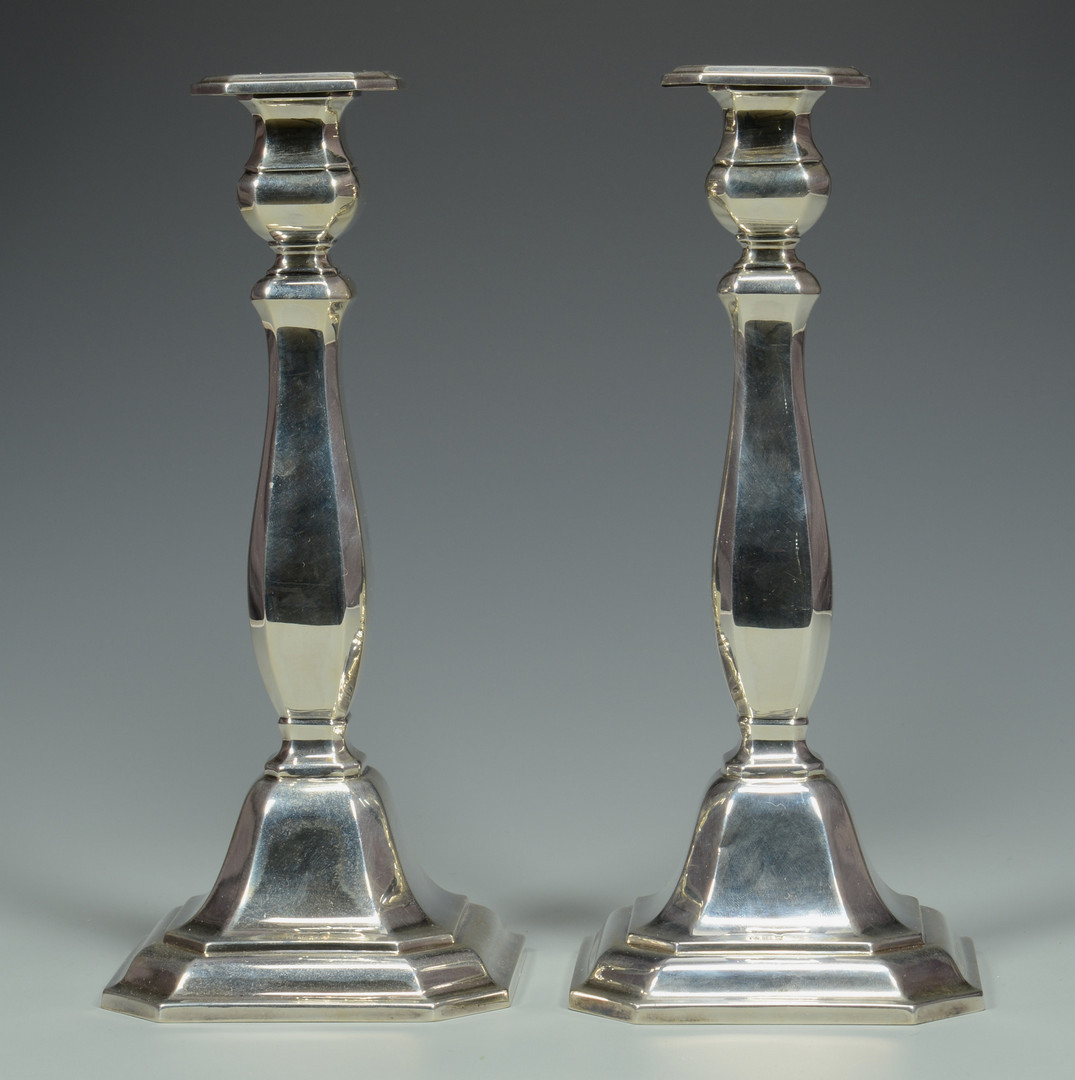 Lot 838: German .925 Silver Candlesticks