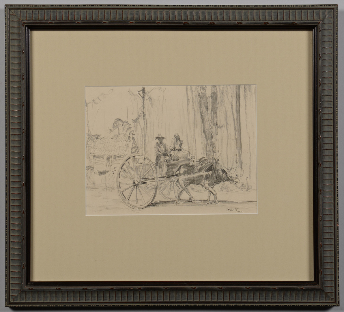 Lot 83: Alfred Hutty Drawing, Figures in Wagon