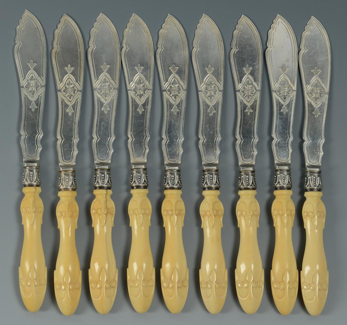 Lot 843: 9 English fish knives