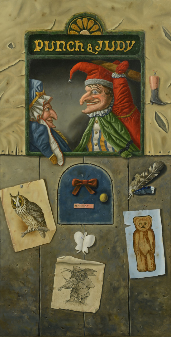 Lot 89: Werner Wildner painting, Punch and Judy