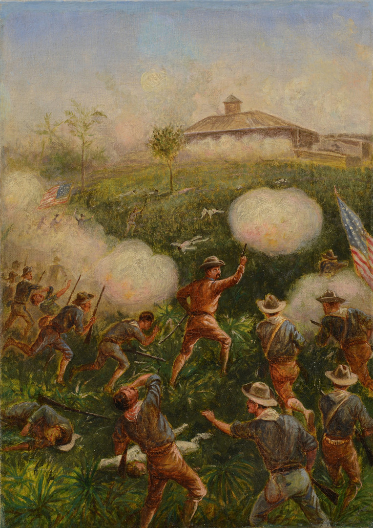 Lot 94: William Cary oil of Teddy Roosevelt Storming San J