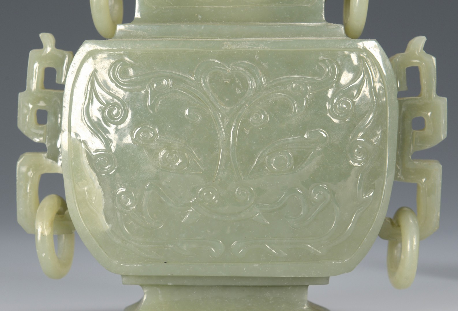 Lot 3594144: Celadon Jade covered vase with ring handles