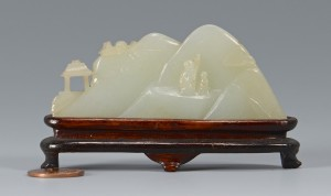 Lot 3594148: White jade mountain carving