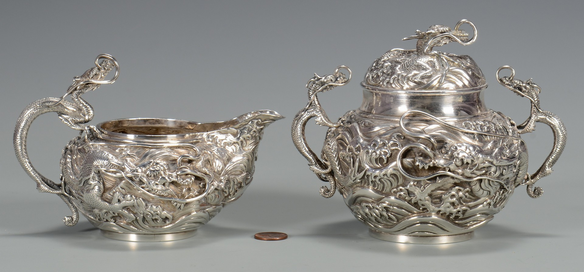 Lot 3594150: Japanese Meiji Silver Sugar & Creamer