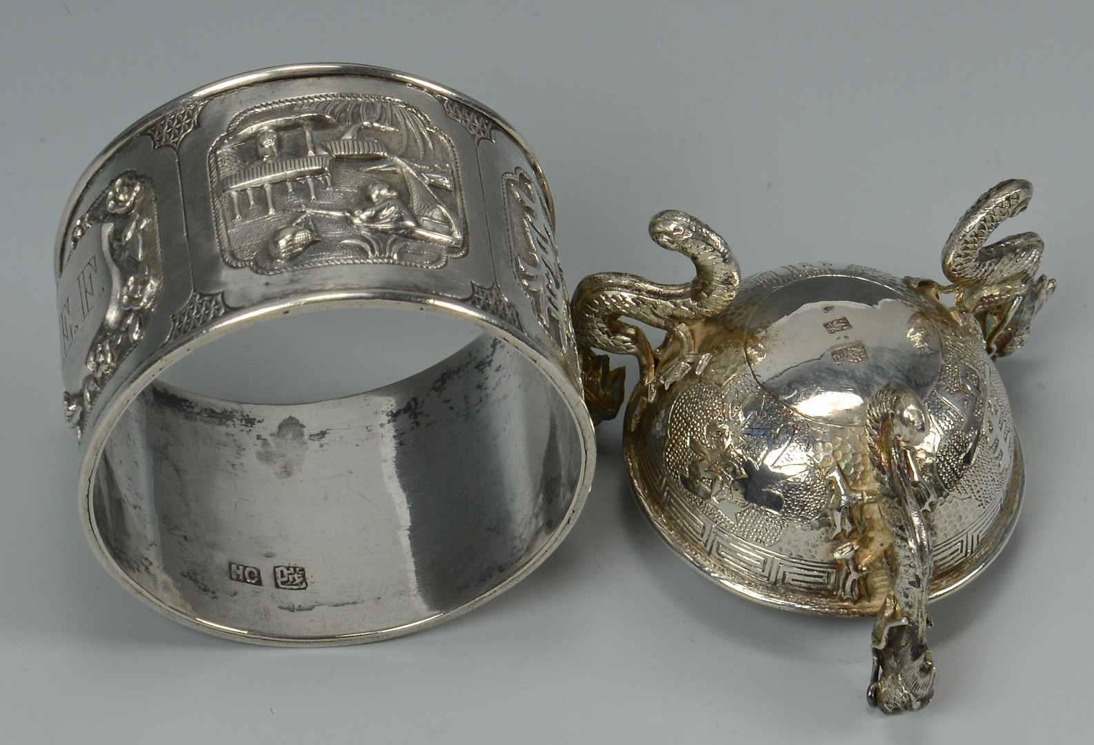 Lot 3594151: 4 Chinese Export Silver table items