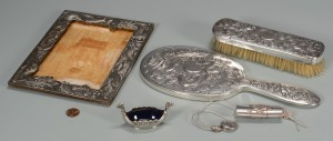 Lot 3594152: 5 Silver Dragon Items inc. Chinese Mirror and Brush