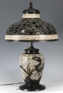 Lot 3594157: Japanese Cloisonne & Bronze Lamp