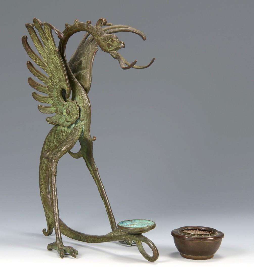Lot 3594162: Chinese Bronze Bird Burner w/ Bronze Teapot