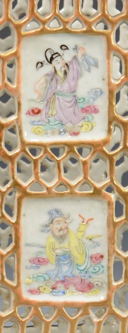 Lot 3594164: Chinese Pierced Famille Rose Square Brush Holder