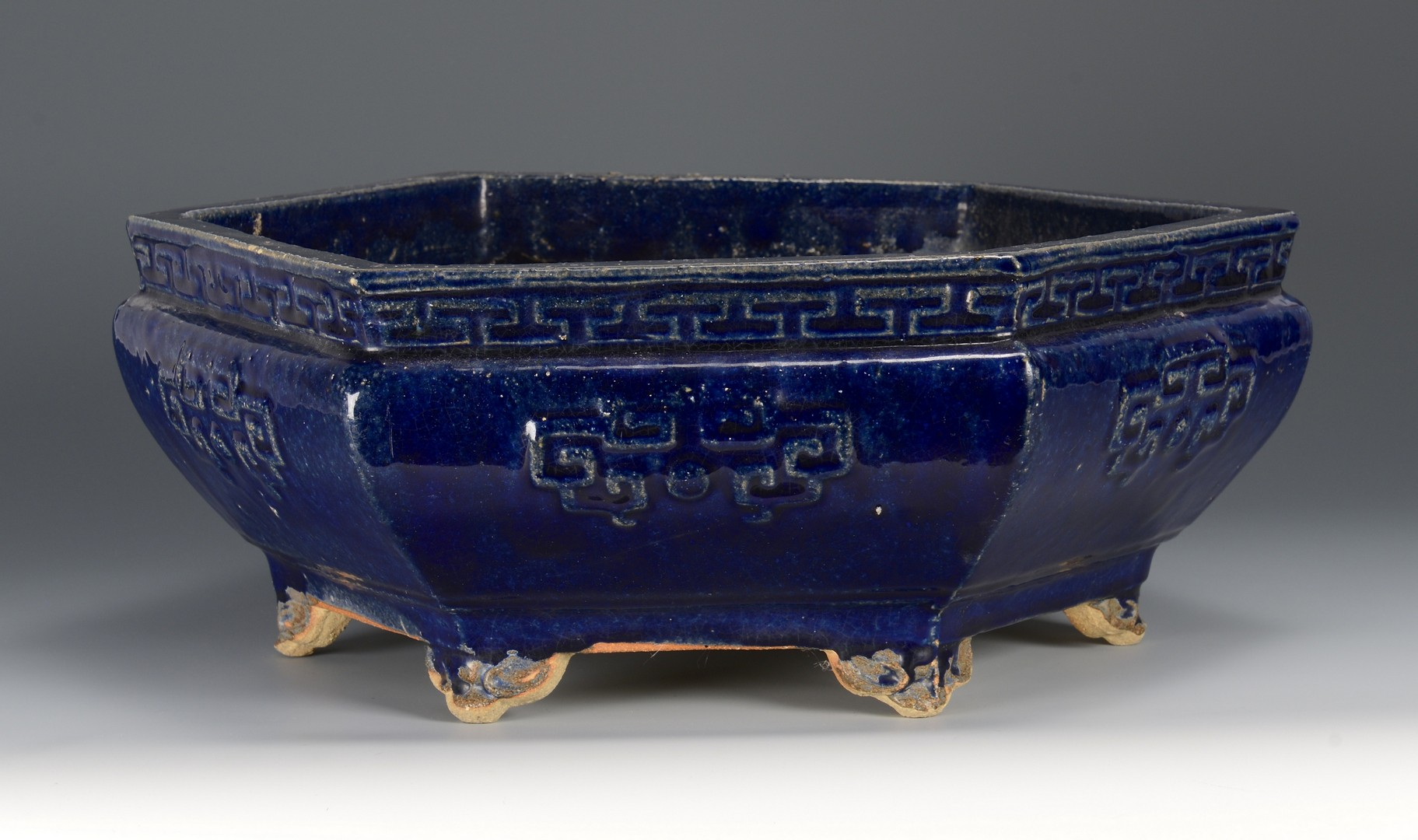Lot 3594165: Large Chinese Cobalt Glaze Bulb Bowl