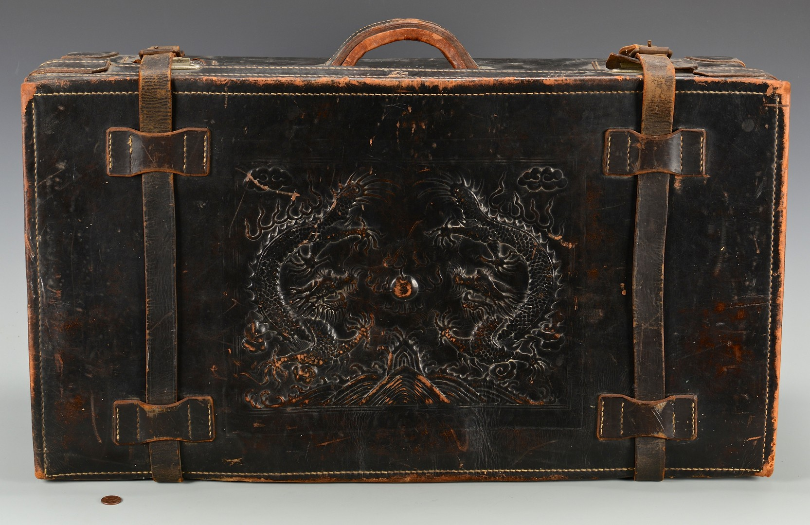 Lot 3594168: China Trade Leather Trunk w/ Embossed Dragon