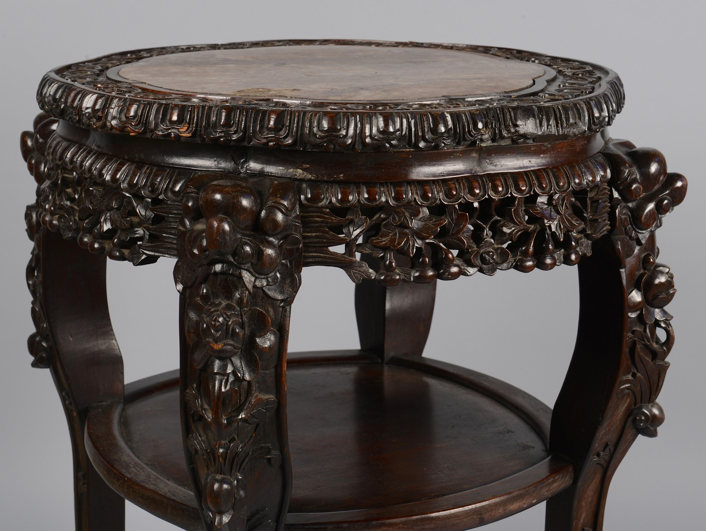 Lot 3594169: Chinese Carved Table/Stand w/ Marble Inset