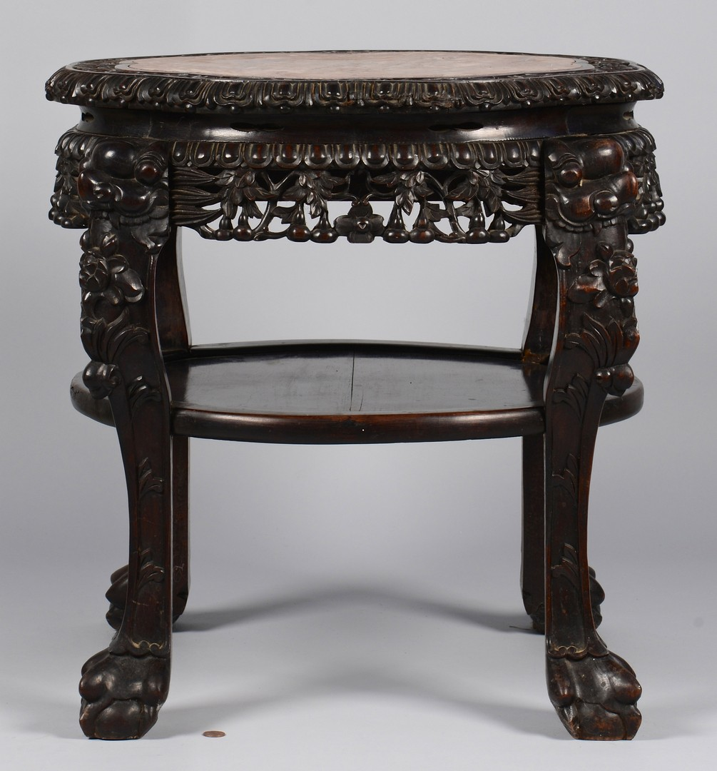 Lot 3594170: Chinese Carved Low Table w/ Marble Inset