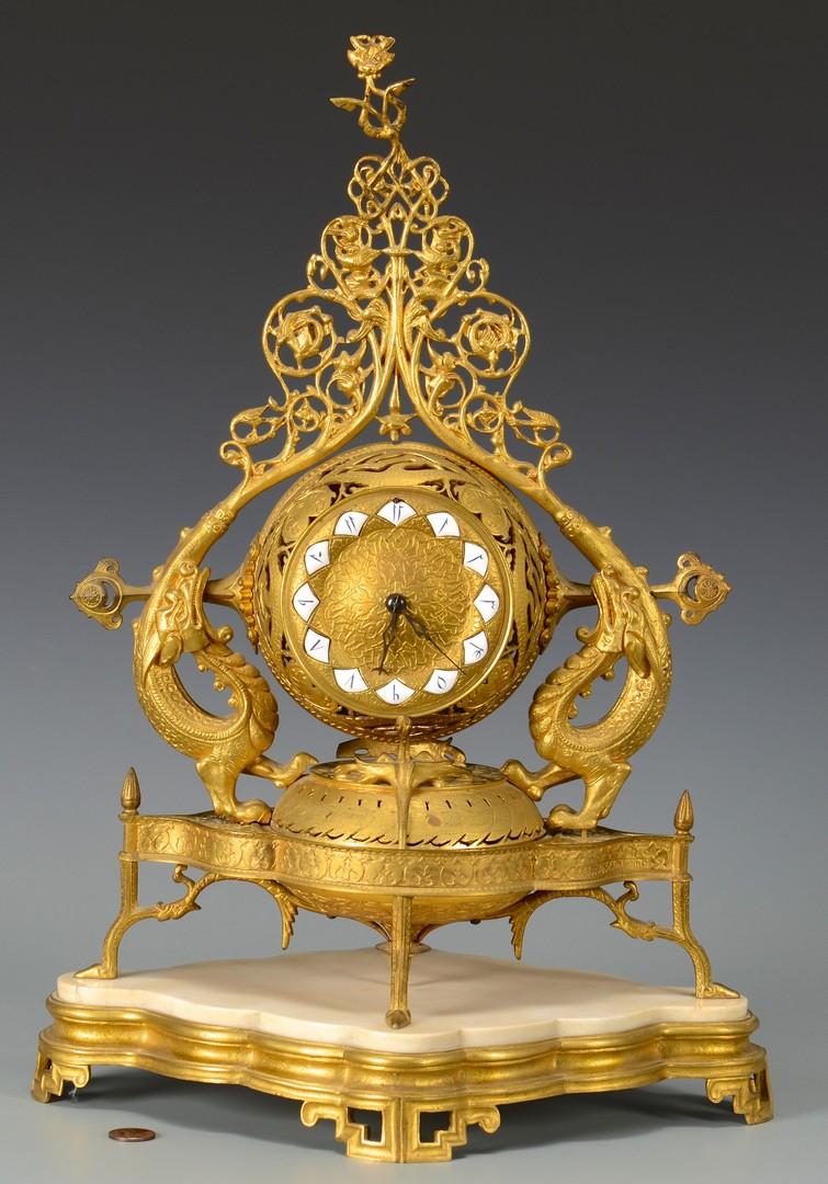 Lot 3594173: Gilt Bronze French Clock w/ Dragons