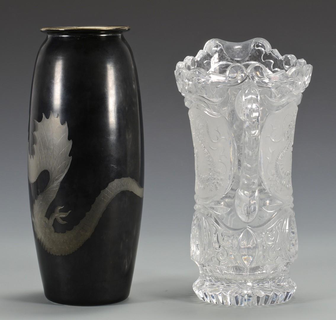 Lot 3594175: Glass Pitcher & Vase w/ Dragon Design