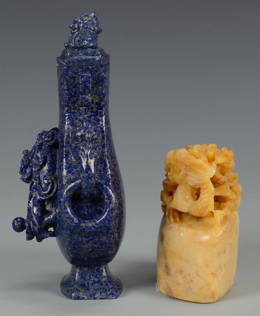Lot 3594181: 2 small Lapis and hardstone dragon articles