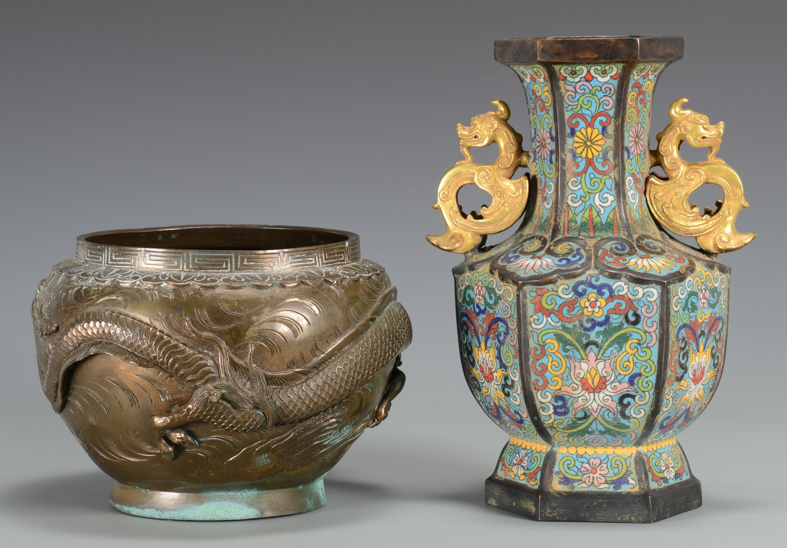 Lot 3594187: 2 Cloisonne and Bronze Dragon Vessels