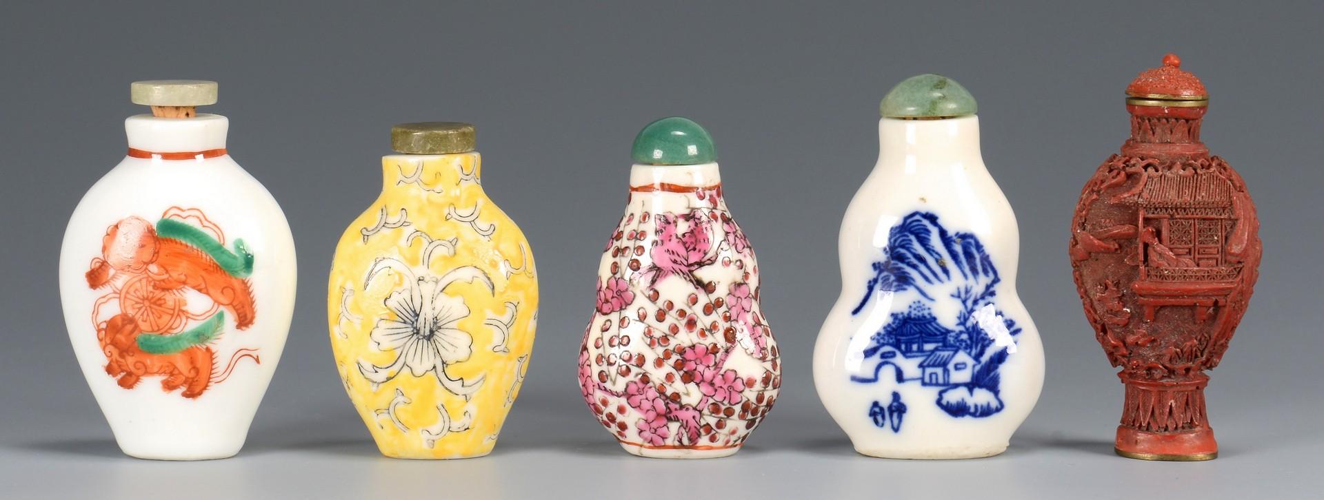 Lot 3594191: 5 Snuff bottles & 1 Opium Burner