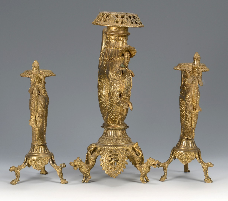 Lot 3594194: Chinese Gilt Altar Candelabra Set
