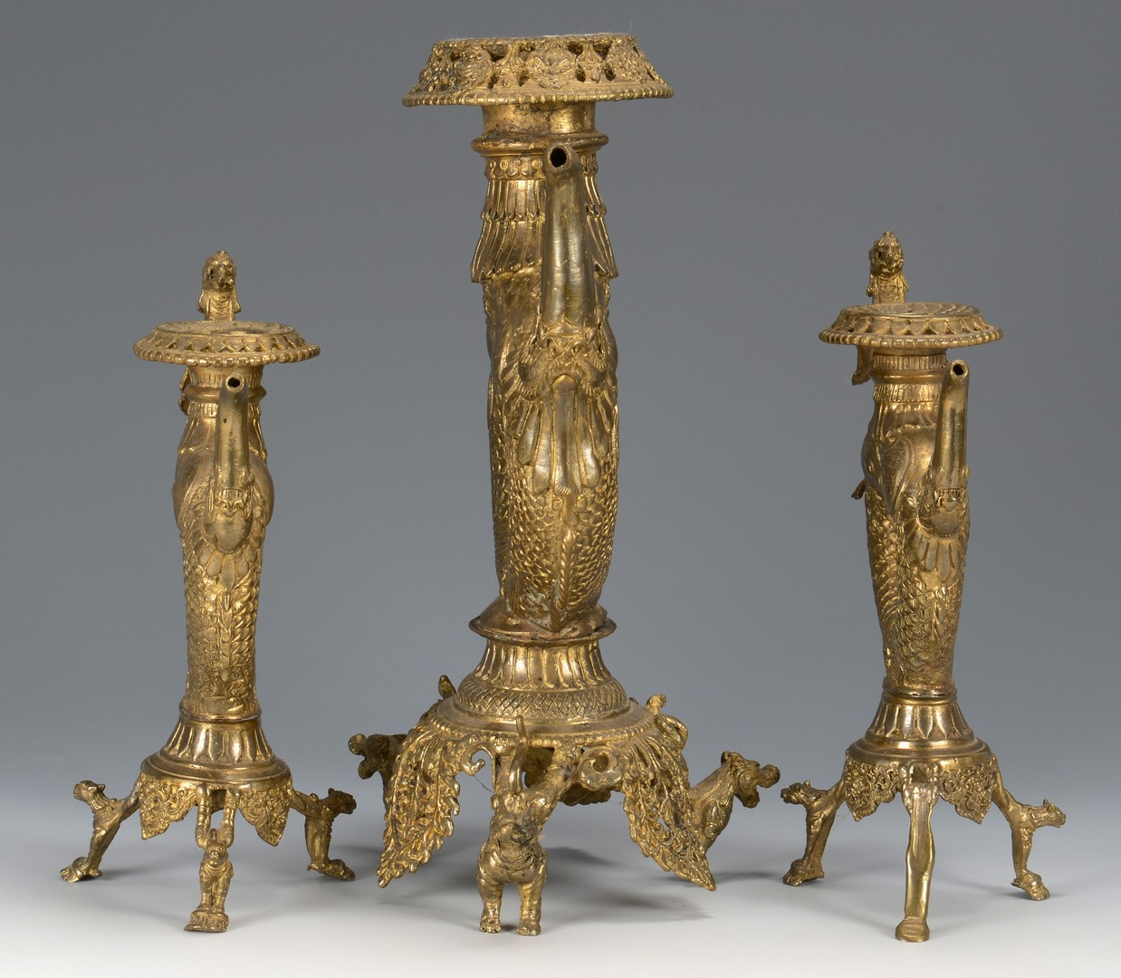 Lot 3594194: Chinese Gilt Altar Candelabra Set
