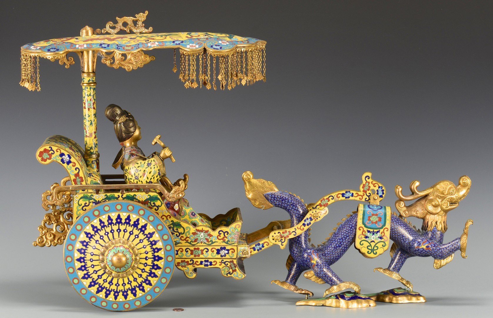 Lot 3594195: Chinese Cloisonne Dragon Rickshaw
