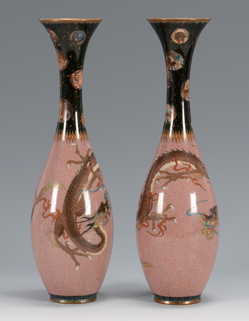Lot 3594196: Pr. Chinese Cloisonne Vases w/ Dragons
