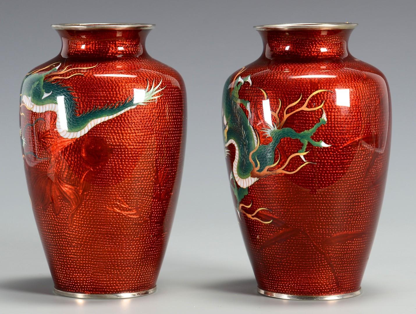 Lot 3594197: Pr. Japanese Sato Cloisonne Vases