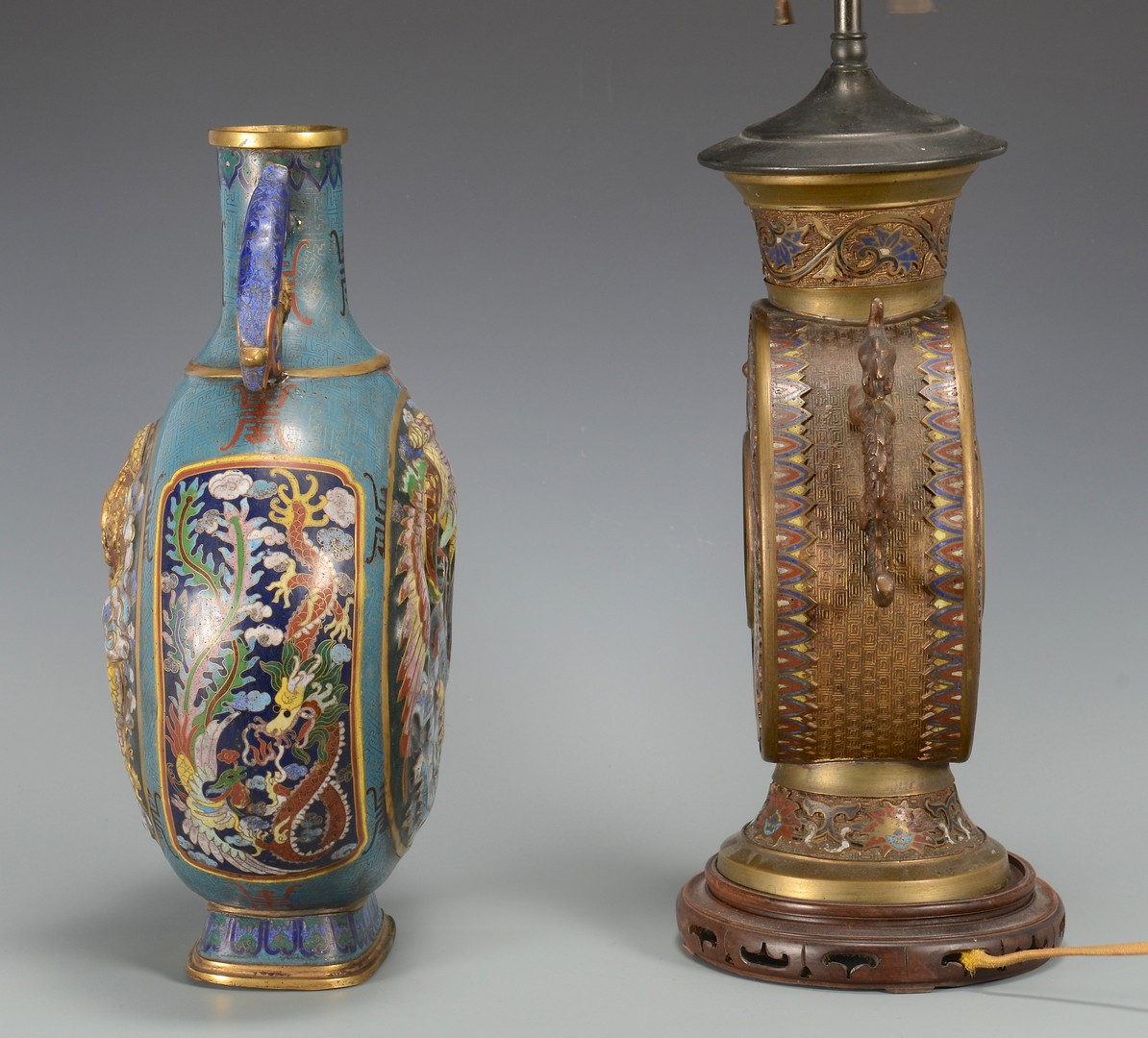 Lot 3594198: Cloisonne Vase & Lamp, Pilgrim Flask Form