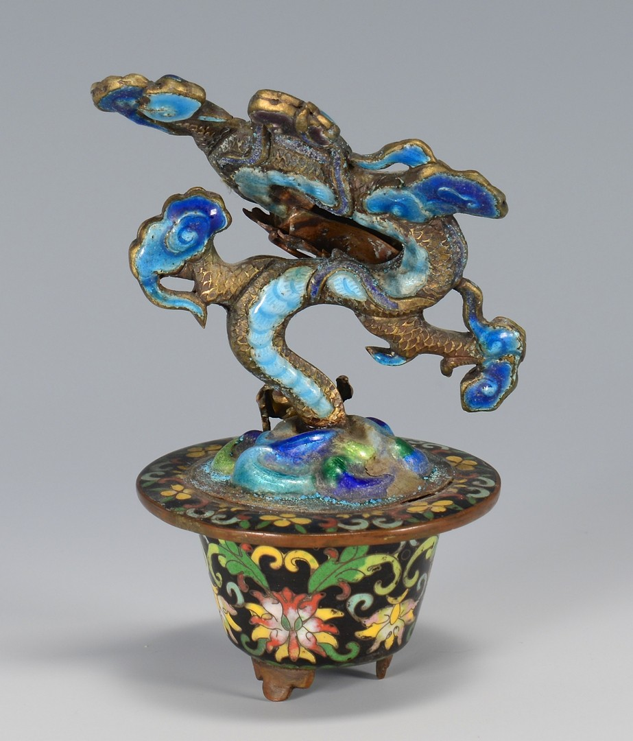 Lot 3594202: 2 Chinese Cloisonne Dragon Items