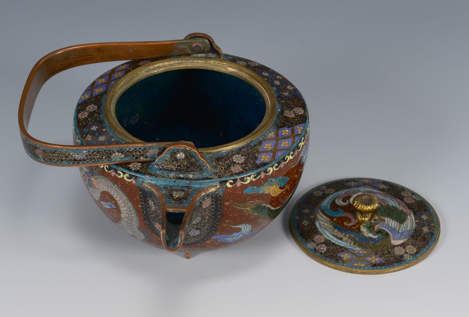 Lot 3594204: 2 Cloisonne Tea Pots + 1 Ewer