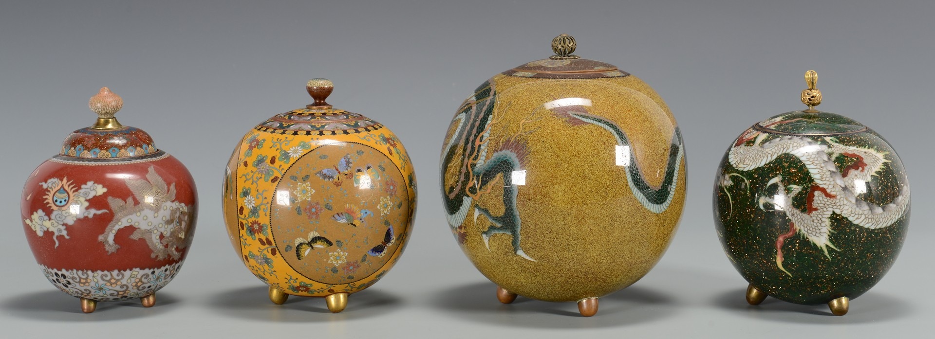 Lot 3594206: 4 Cloisonne Covered Jars w/ Dragon Designs