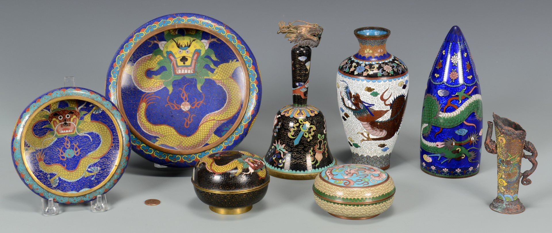 Lot 3594207: 8 Cloisonne Items incl Bell