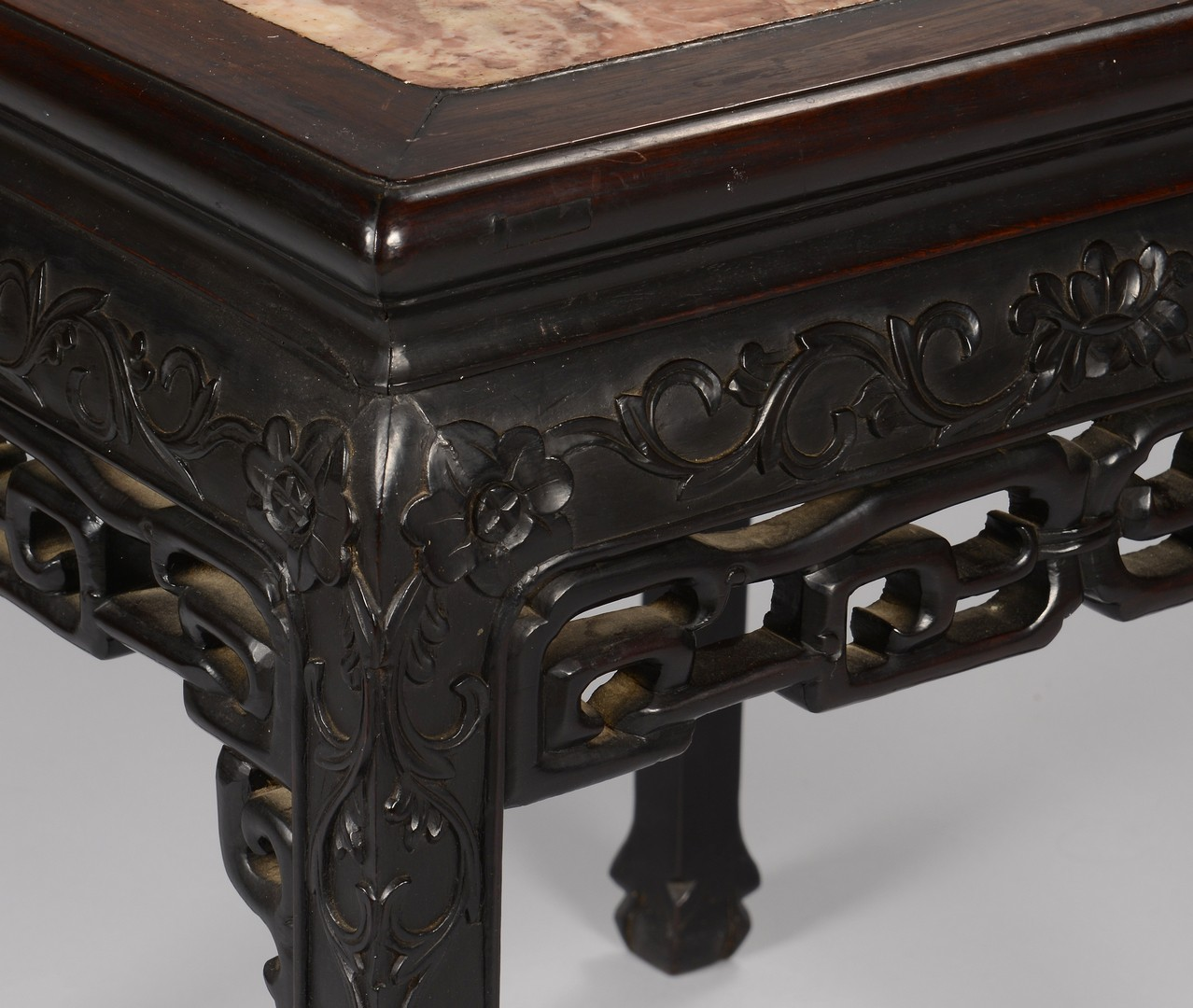 Lot 3594210: Chinese Hardwood Side Table w/ Marble Top