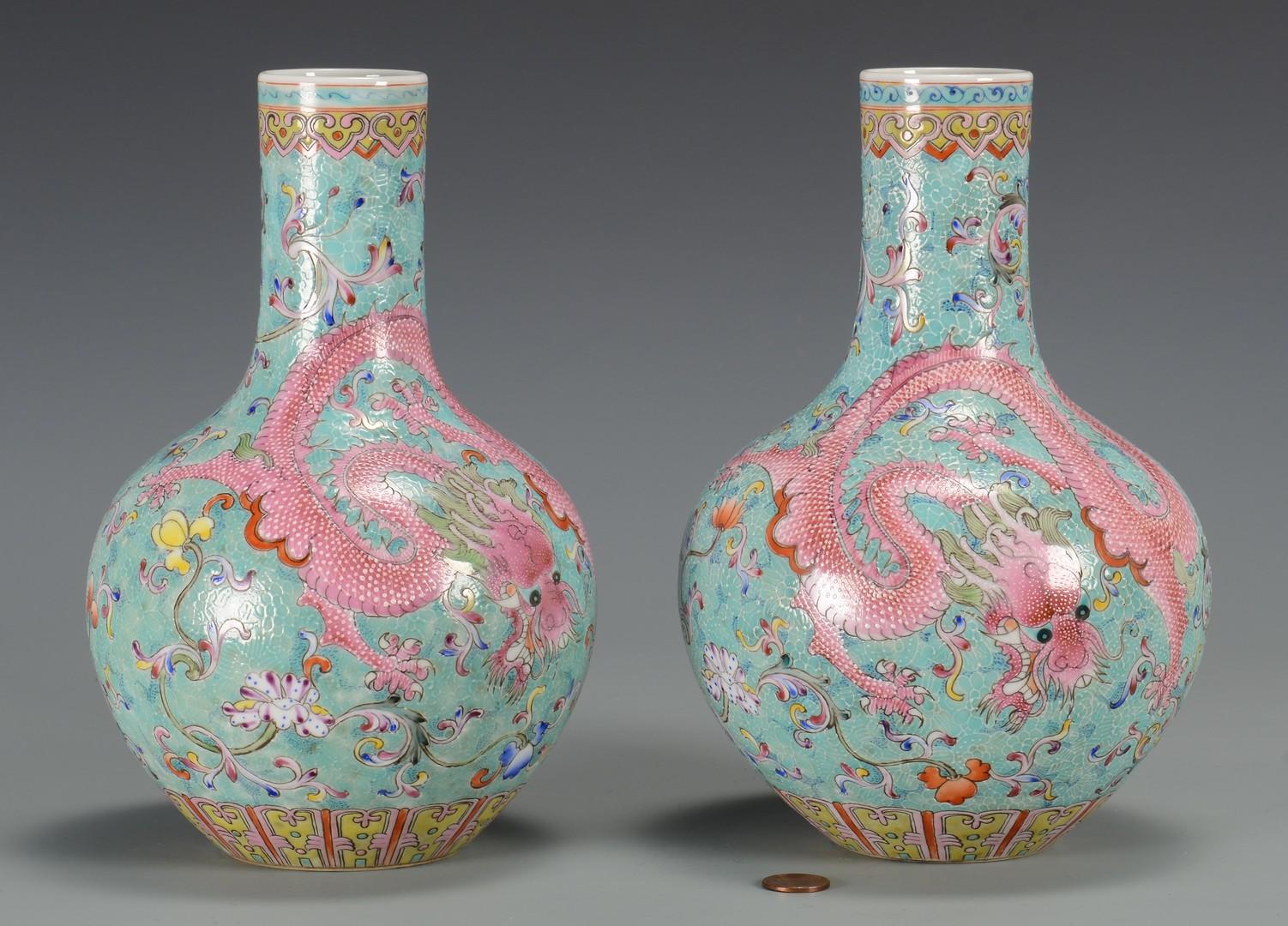 Lot 3594219: Pr. Famille Rose Bottle Vases