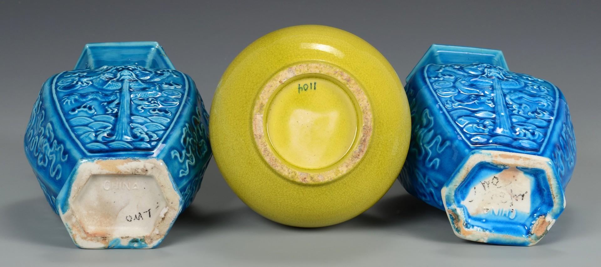 Lot 3594224: 3 Chinese Monochrome Glaze Vases