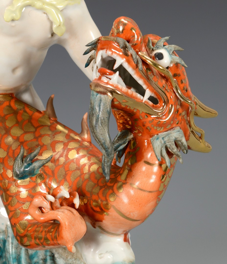 Lot 3594225: Asian Porcelain Figural Group with dragon and ring