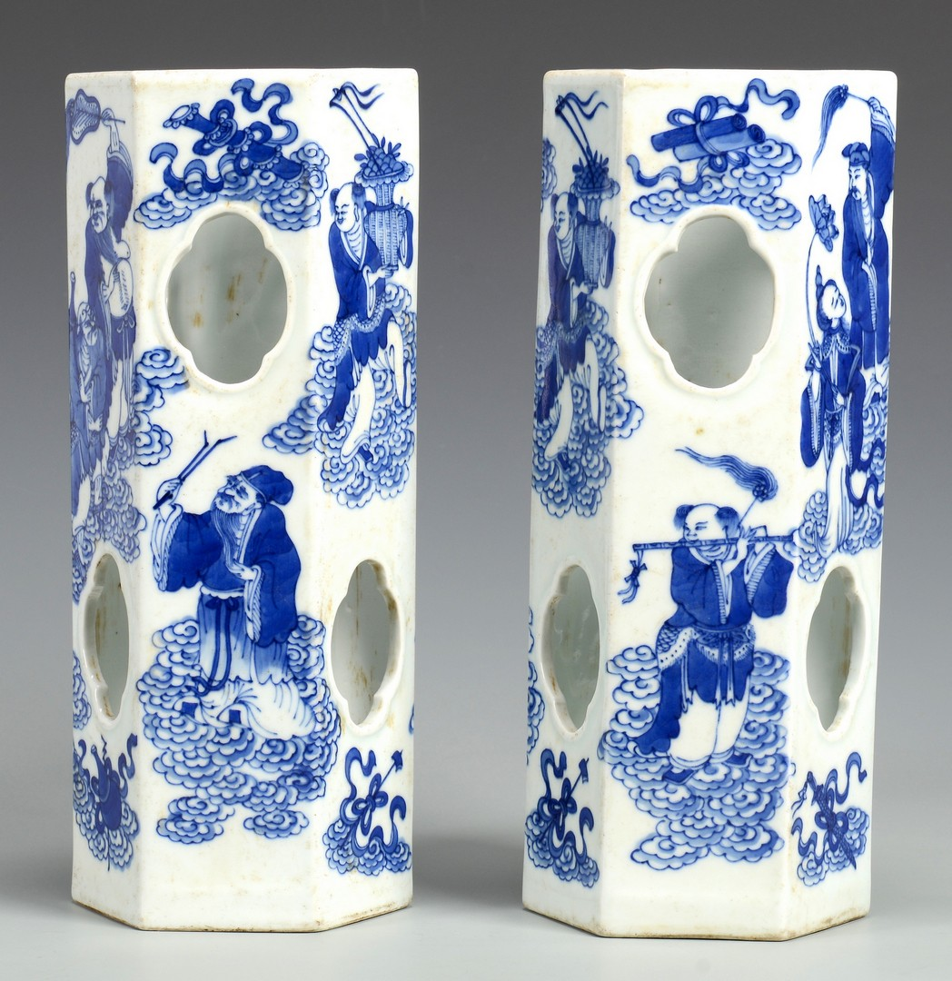 Lot 3594235: Pair Chinese Blue & White Porcelain Hat Stands