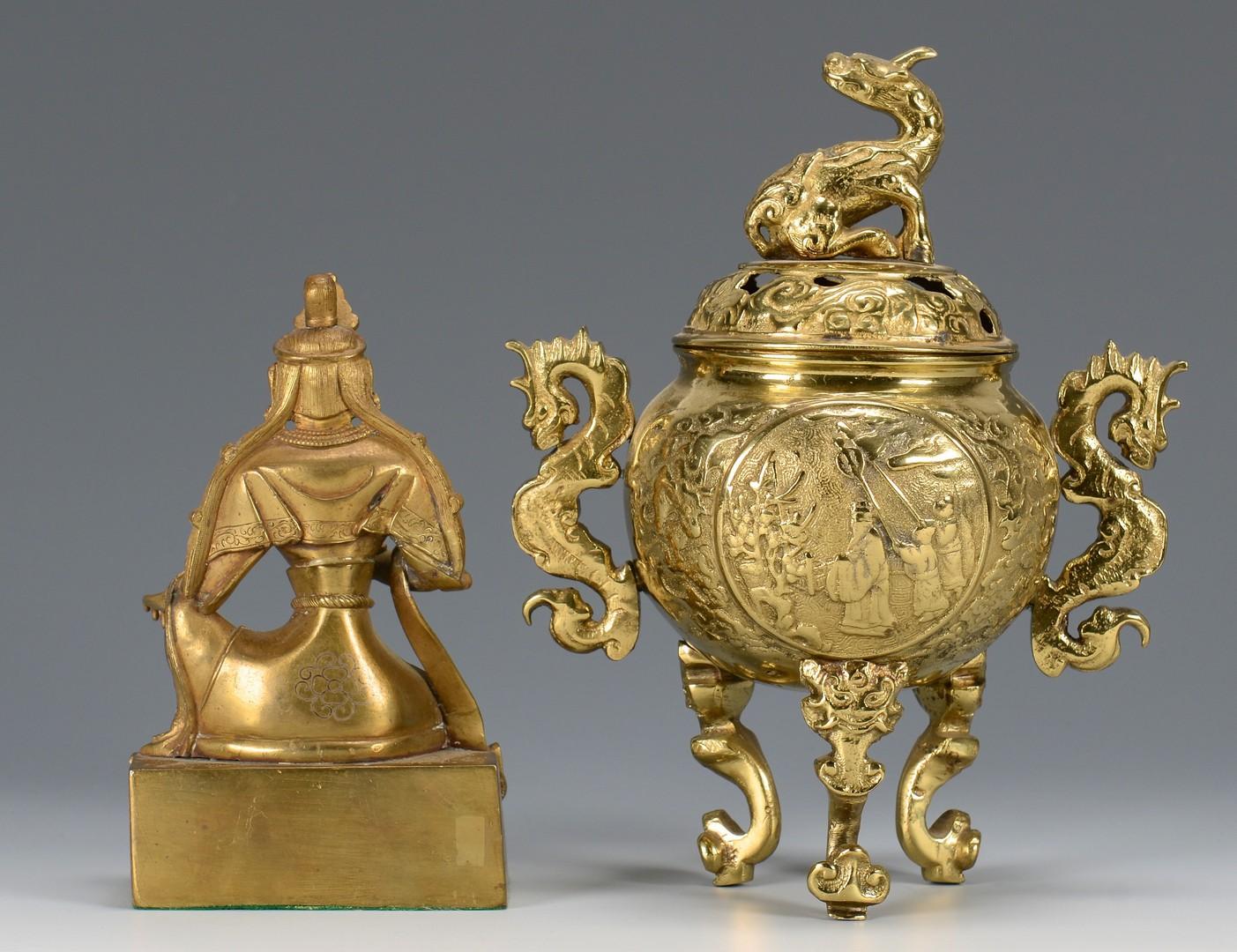 Lot 3594244: 2 Metal Asian Items, Censor & Figure