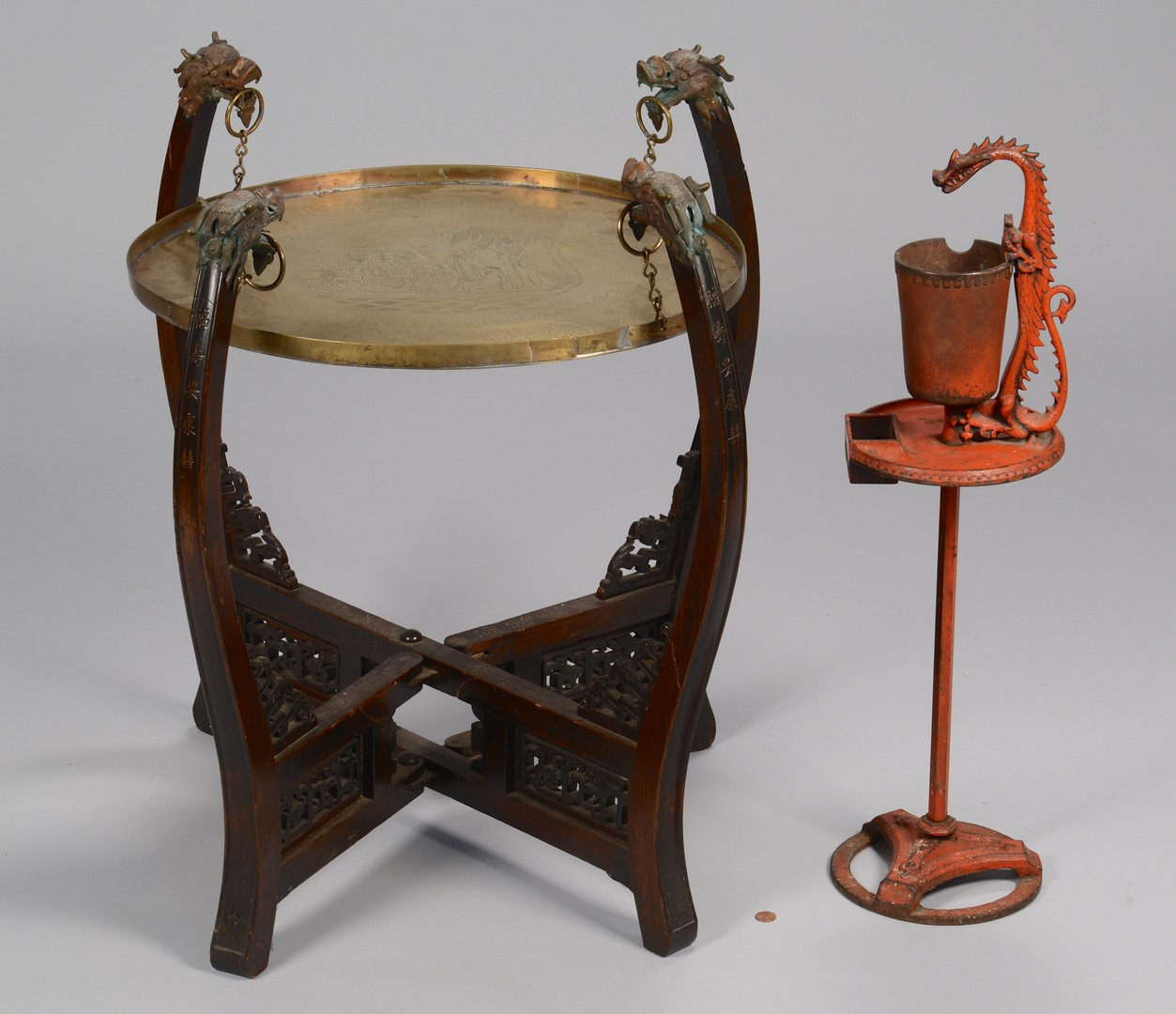 Lot 3594245: Chinese Brass Top Table & Smoking Stand w/ Dragon