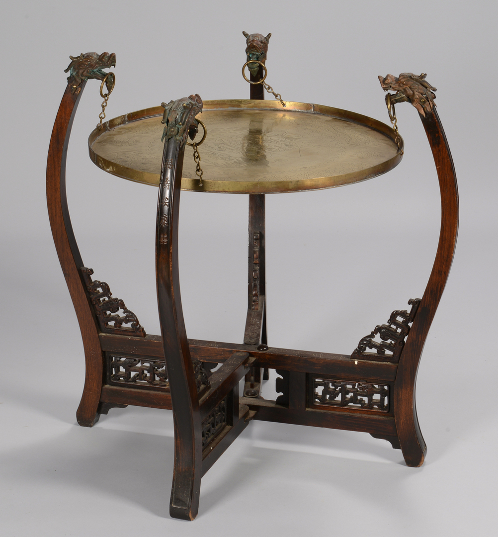 lot 3594245  chinese brass top table  u0026 smoking stand w   dragon