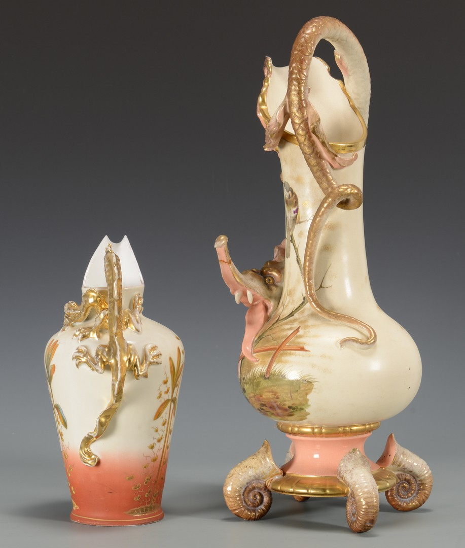 Lot 3594250: 2 Continental Porcelain Ewers w/ Dragon Handles