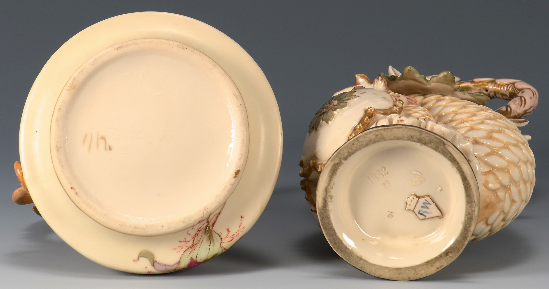 Lot 3594251: 2 Continental Figural Porcelain Ewers