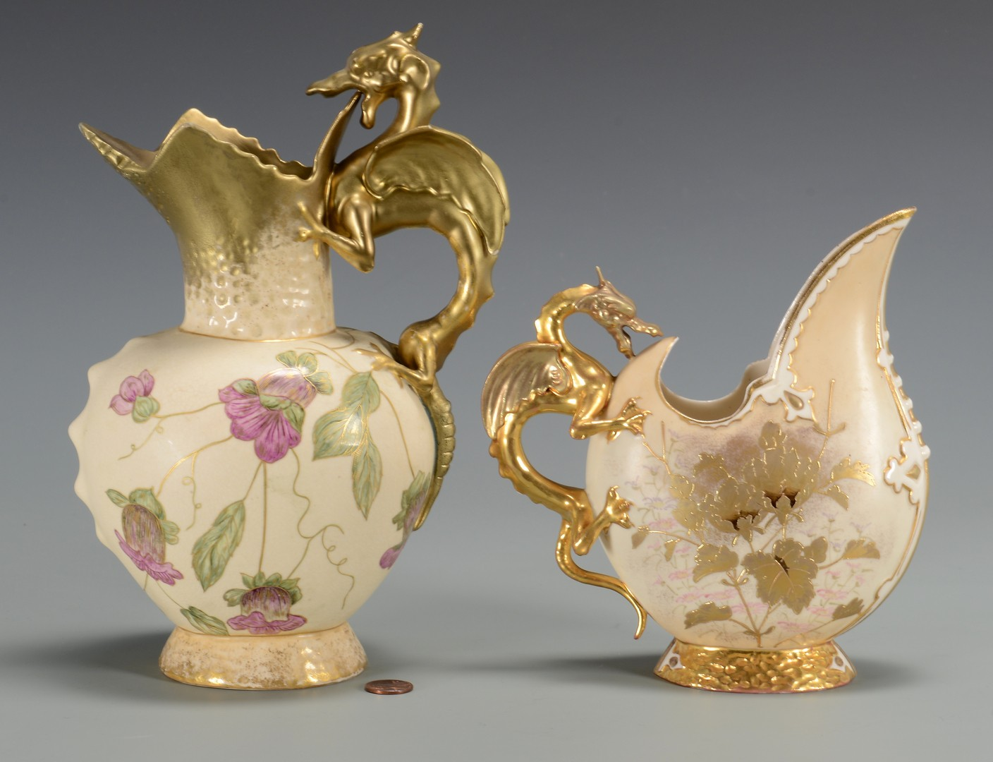 Lot 3594252: 2 Continental Porcelain Pitchers w/ Dragon Handles