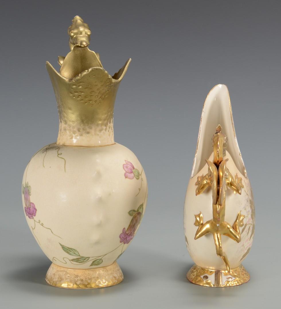 Lot 3594252: 2 Continental Porcelain Pitchers w/ Dragon Handles