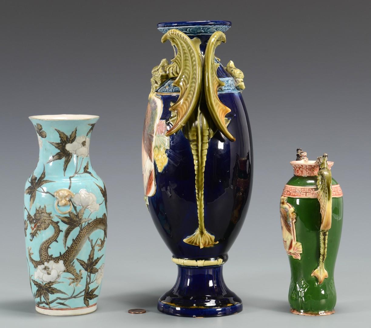 Lot 3594255: 3 Vases inc. Majolica dragon portrait vases