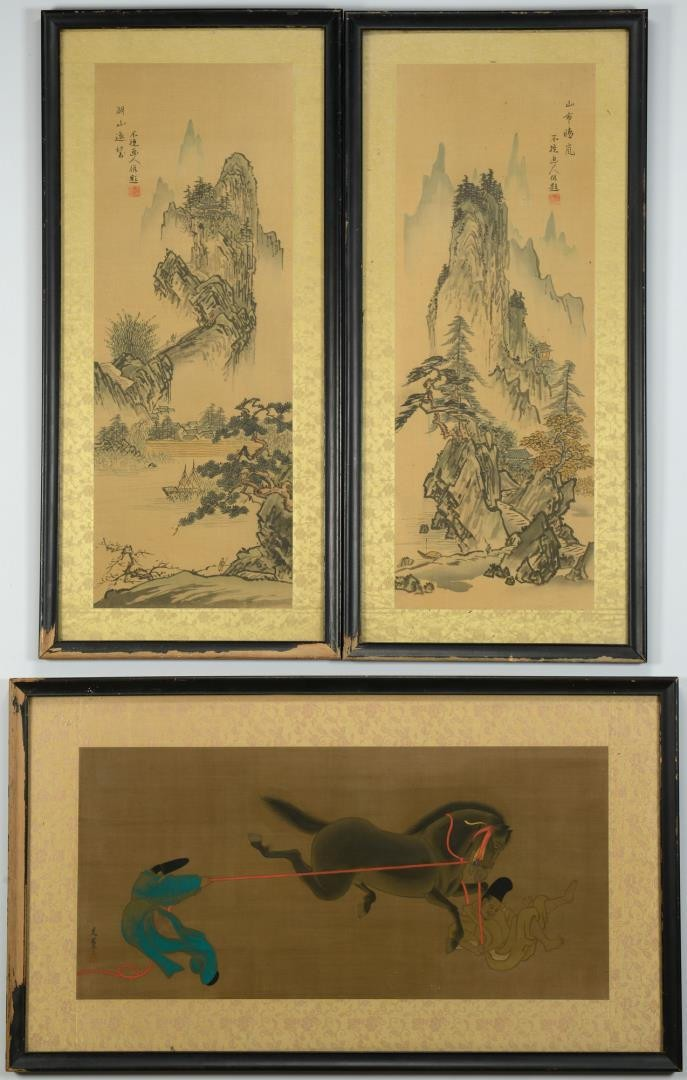 Lot 3594258: 3 Framed Chinese Silk Scroll Paintings