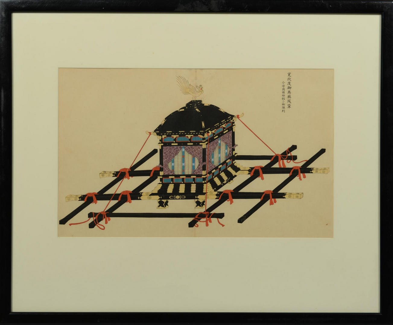 Lot 3594260: Japanese Gouache – Norimono or sedan chair