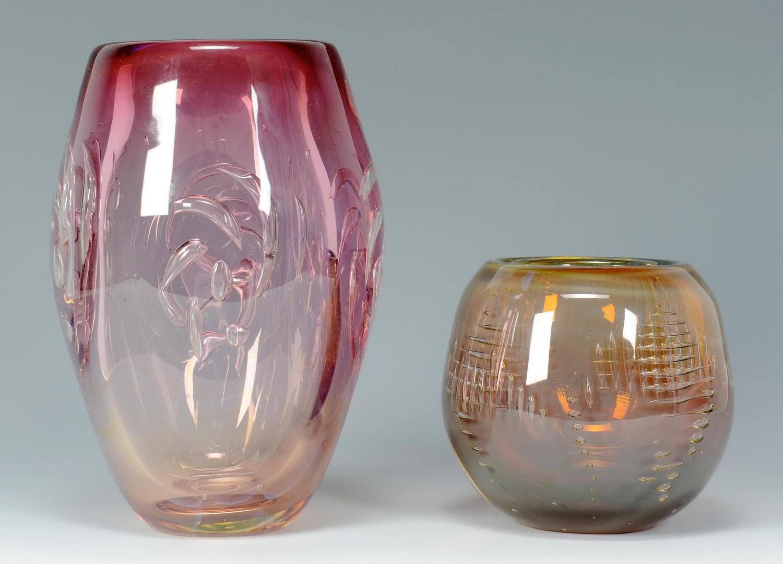 Lot 3594262: David Huchthausen Art Glass bowl & vase