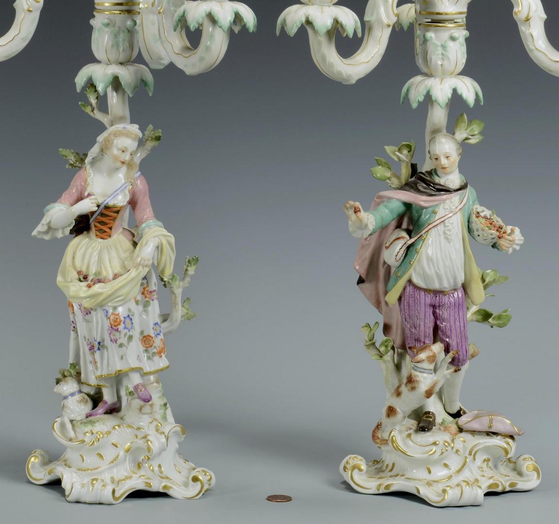 Lot 3594264: Pair Meissen Figural Candelabra